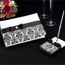 Black Damask Guest Book and Pen