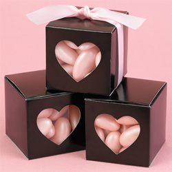 Black Heart Shapped Window Favor Boxes