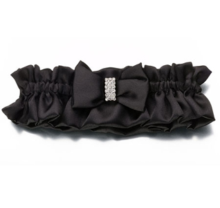 Black Sash Wedding Garter