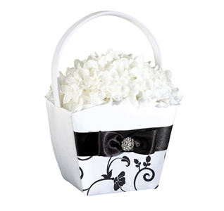 Black White Flower Basket