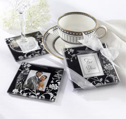 Timeless Traditions Black and White Glass Photo Coasters Wedding Favors