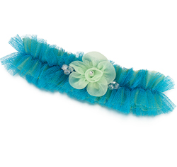 Blue and Green Bridal Garter
