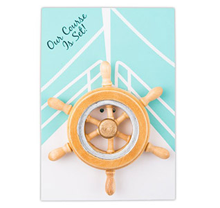 Our Course is Set Boat Wheel Magnet Personalized Wedding Favor