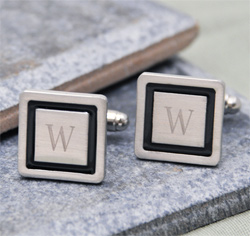 Personalized Initial Black Border Designer Wedding Party and Groom Cufflinks