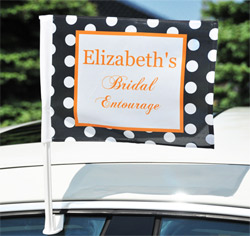 Personalized Bridal Entourage Bachelorette Wedding Party Car Window Flag