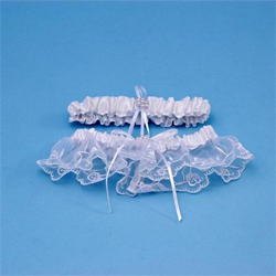 White Lace Wedding Bridal Tapestry Garter and Tossing Garter Set