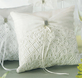 Bridal Tapestry Wedding Ring Bearer Pillow in White and Ivory