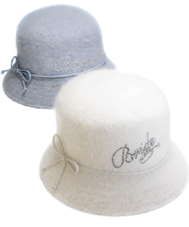 Bride Angora White or Blue Beach Sun Hat