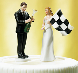 Bride at Finish Line with Victorious Groom Wedding Cake Top Couple Figurine