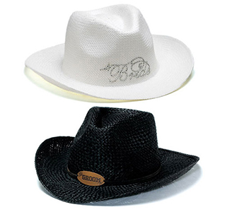 Black and White Bride and Groom Wedding Cowboy Hats