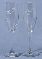 Bride & Groom Heart Flutes