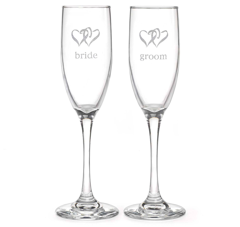 Bride and Groom Hearts Wedding Toasting Flutes | Wedding Toasting ...
