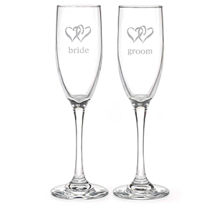Bride & Groom Hearts Toasting Flutes