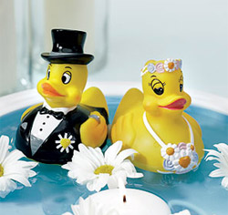 Bride & Groom Rubber Ducks Wedding Favors/ Wedding Cake Topper Figurines