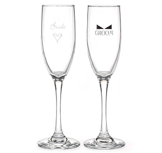 Bride & Groom Wedding Toasting Flutes