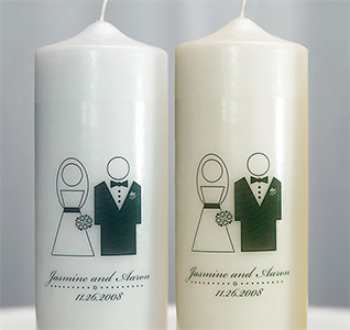 Bride and Groom Personalized Wedding Pillar Unity Candle in White or Ivory