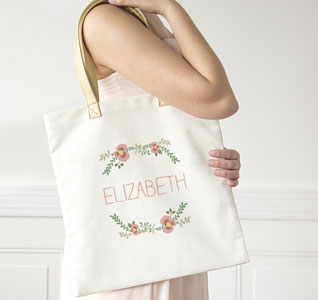 c4f0f3c42becf Personalized Floral Canvas Bridesmaid Tote Bag