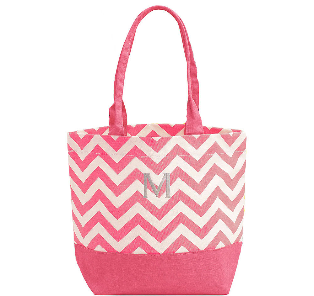 Pink Chevron Canvas Bridesmaid Tote Bag | Personalized Tote Bag