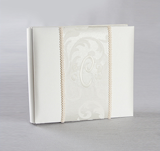 Brocade Monogram White or Ivory Wedding Photo/Picture Album Personalized