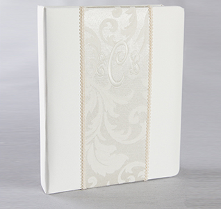 Brocade Monogram White or Ivory Wedding Memory Book Personalized