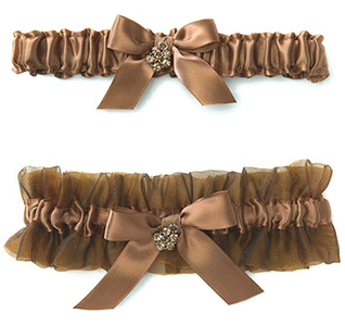 Bronze Elegance Bridal Wedding Garter and Tossing Garter Set