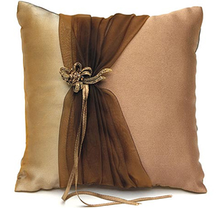 Bronze Elegance Wedding Ring Bearer Pillow