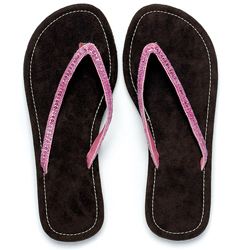 Chocolate and Sparkle Pink Brown Faux Suede Flip Flop Sandal