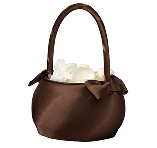 Chocolate Brown Wedding Flower Girl  Basket