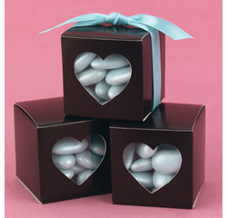Brown Heart-Shaped Window Favor Boxes