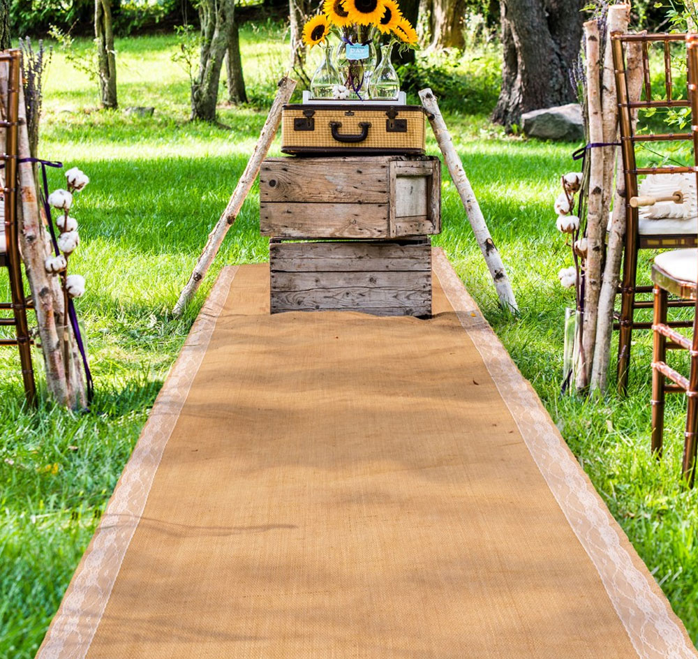 Burlap Lace Wedding Aisle Runner