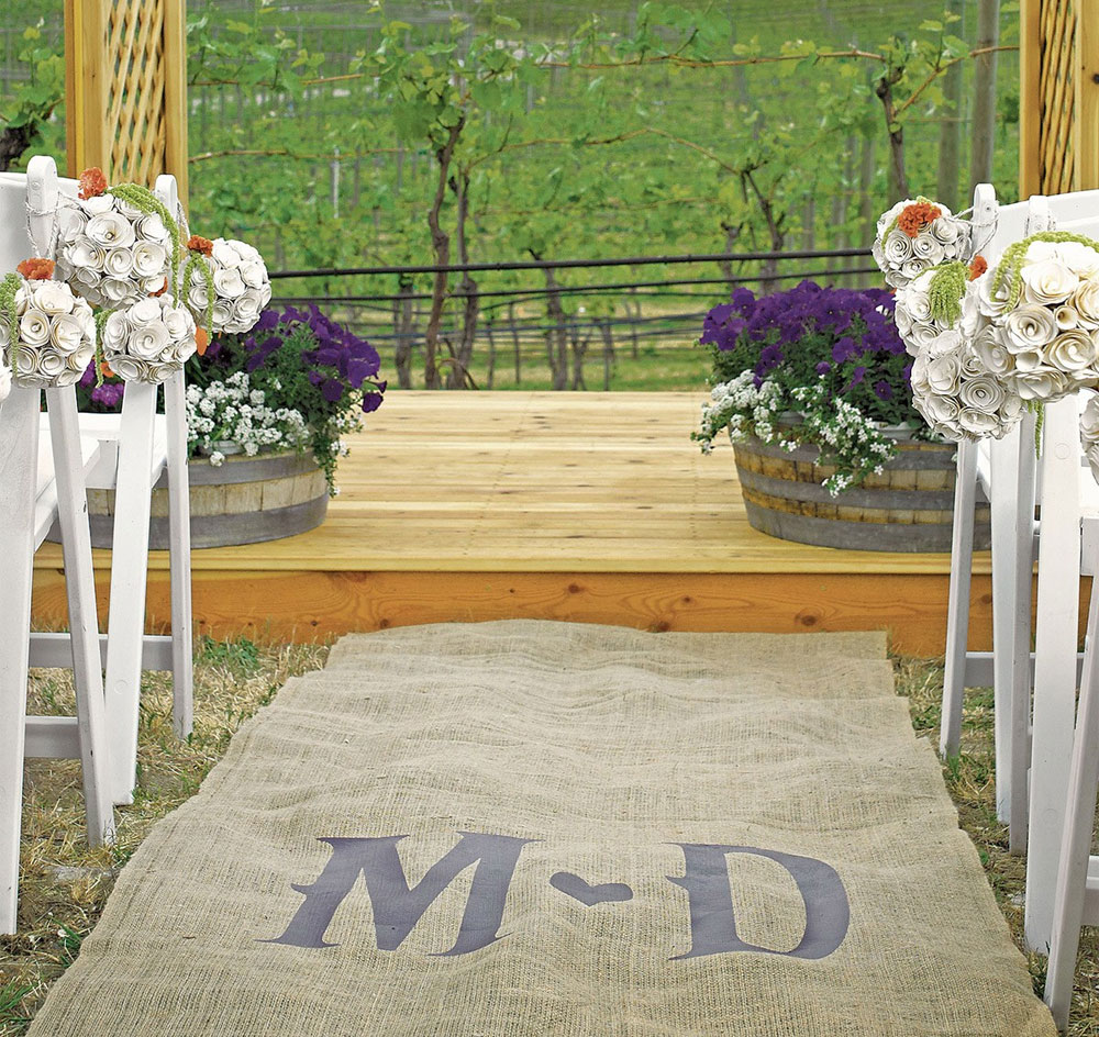 Burlap Aisle Runner With Vineyard Monogram Monogram