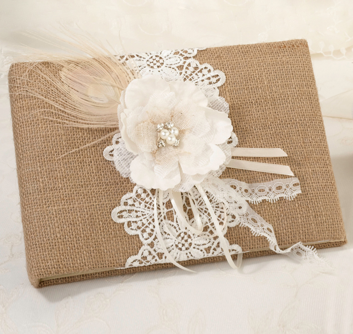 Burlap & Lace Wedding Guest Book | Rustic Guest Book