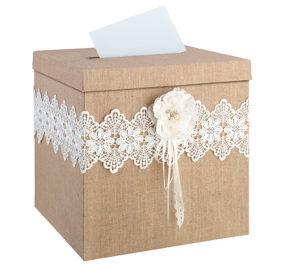 Burlap and Lace Rustic Wedding Card Box | Burlap Wedding Card Box