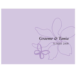Butterfly Dreams Personalized Wedding Note Card in Lavender Purple