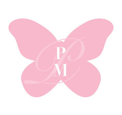 Personalized Monogram Butterfly Shaped Wedding Stickers in Pink