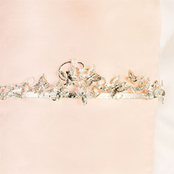 Silver Butterfly Tiara for Wedding or Prom Updo