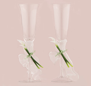 Calla Lily White and Green Wedding Toasting Flute Glasses Set for Bride and Groom