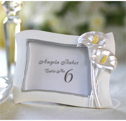 Swaying White Calla Lily Pearlescent Wedding Place Card Holder/ Photo/Picture Frame Favors