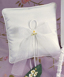 Calla Lily White Wedding Ring Bearer Pillow