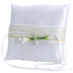 Calla Lily White and Green Wedding Ring Bearer Pillow