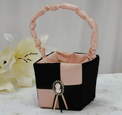 Cameo Flower Girl Basket Brown and Blue or Pink Wedding Flower Girl Basket