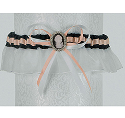 Pink and Brown Crystal Cameo Brooch Wedding Garter