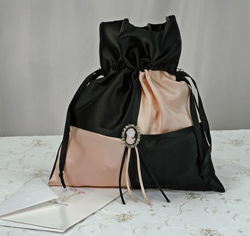 Black and Pink Cameo Wedding Money Bag