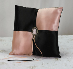 Black and Pink Cameo Wedding Ring Bearer Pillow