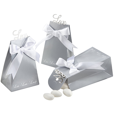 Silver Favor Boxes & Bags