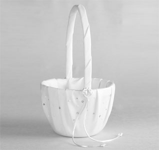 White or Ivory Celebrity Wedding Flower Girl Basket with Clear Crystal/Rhinestones