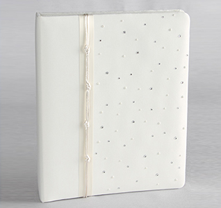 White or Ivory Celebrity Wedding Memory Book with Clear Crystal/Rhinestones
