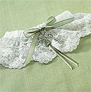 Celtic Charm White Lace Wedding Bridal Garter with Green Bow