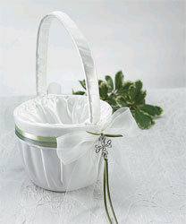 Celtic Charm White and Green Wedding Flower Girl Basket