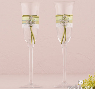 Celtic Charm Wedding Toasting Flute Glasses Set for Bride and Groom